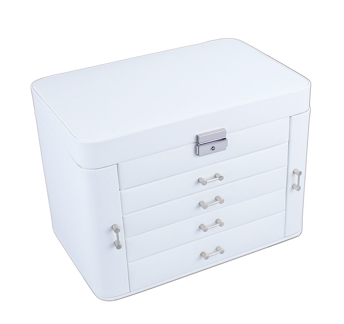 Mele Extra Large Empress Jewellery Box In Bonded Leather White